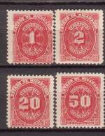 Nicaragua , Portomarke , 1897 , Mi.Nr. 22 / 23 / 26 / 27 * Gefalzt - Nicaragua