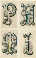 Pamiers Fantaisie Lot De 7 Cpa Alphabet Lettres Avec Vues De Pamiers Jeune Femme Style Art Déco - Pamiers