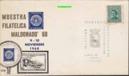 Uruguay 1968 Antarctica - Muestra Filatelica Maldonado Cover (see Scan, Stamp Some Brown Spots) (26706) - Uruguay