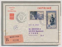 MONACO => 1 Fragment D'emballage (colis Ou Grosse Enveloppe Carton) - Affranchissement Composé 1955 - Monaco
