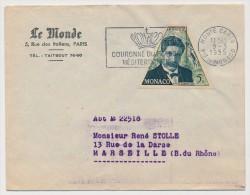 "MONACO => 1 Enveloppe En Tête ""Le Monde"" - Affr 5F Schweitzer - OMEC 1955 - Monaco"