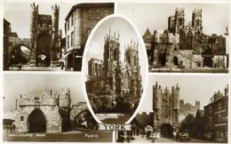 YORK - YORKSHIRE - ENGLAND  -  MULTIVIEW  POSTCARD - BEAUTIFUL STAMPING. - York