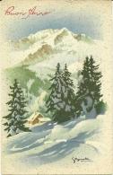 BUON ANNO   Paesaggio Di Montagna Con La Neve Chalet Abeti  Illustratore Bonelli - Anno Nuovo