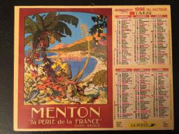 Calendrier Almanach Du Facteur 1996 Affiches 1900 De MENTON Et CABOURG Intérieur Région Parisienne - Calendriers
