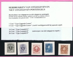 """Lot Herdrukken  Van Niet Uitgegeven Belgische En Congolese Postzegels """" Type Vanbiesbrouck""""  Congo, België - Non Classés"""