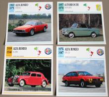 Lot 8 Fiches Alfa Romeo Giulia Junior Autobianchi Bianchina - Cars