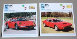 2 Fiches Voiture DINO 308 GT4 Et 246 GT - Cars