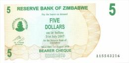 Billet Zimbabwe 5 Dollars NEUF - Zimbabwe
