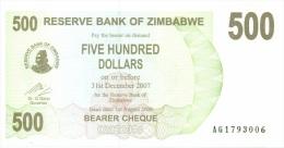 Billet Zimbabwe 500 Dollars NEUF - Zimbabwe
