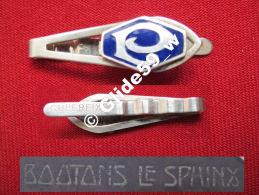 """Ancienne Pince à Cravate En Métal Argenté émaillé Avec Initiale """"P"""" (Superfix) (Boutons Le Sphinx) (années 40/50) - Accessoires"""