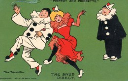 """Postcard - """"Pierrot And Pierrette"""" - The Snub Direct By Tom Browne. 2629-5 - Humor"""