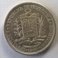 Monnaie - Venezuela - 2 Bolivares 1960 - Argent - Superbe - - Venezuela