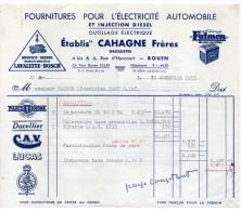 1953-ROUEN-76--Fournitures électricité Automobile-Ets CAHAGNE Frères-Pubs Fulmen,Lavalette-Bosch,Ducellier,Lucas,CAV.. - Cars