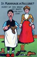 """Cpa Anglaise, Une Mégère Asticote Son Malheureux Mari """"is Marriage A Failure"""" (51.47) - Humour"""