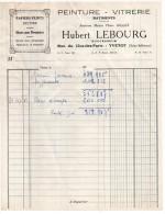 1958--YVETOT--76--Peinture,Vitrerie,Papiers Peints-Facture  Hubert LEBOURG--facture à En-tête - Francia