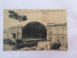 TORINO - Interno Stazione Porta Nuova, Treni, Auto Volante - Cartolina FP V 1909 - Stazione Porta Nuova