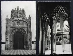 2x Granada, 1955, Alhambra Patio De Los Leones, Capilla Real: Purta Prinicipal - Granada