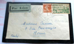 FRANCIA 1935 - 2 FRANCHI E CENT 25 SU LETTERA VIAGGIATA PAR AVION - Francia