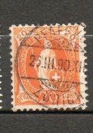 SUISSE Helvetia 20c Orange 1882-1904 N°71 - Oblitérés