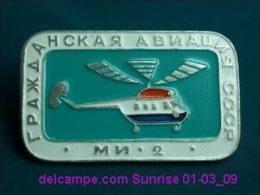 "Soviet Helicopter ""Mi-2"" / Soviet Badge 01-03_1169_09 - Montgolfières"