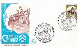Fdc Filagrano: CASTELLO DI SAINT PIERRE  L.900 (1980); No Viaggiata; AS_Siant Pierre - F.D.C.