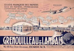 Buvard GRENOUILLEAU ET LANDAIS (papeterie, Bordeaux)  (PPP1986) - Buvards, Protège-cahiers Illustrés