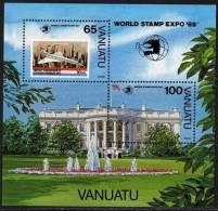 """VANUATU  B.F. N° 14  XX  """"World Stamp Expo 89"""", Exposition Philatélique Intern. à Washington,  Le Bloc Sans Charnière TB - Vanuatu (1980-...)"""