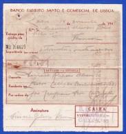 1942 . PORTUGAL - BANCO ESPIRITO SANTO E COMERCIAL DE LISBOA -- ENTREGA PARA CRÉDITO - Cheques & Traverler's Cheques