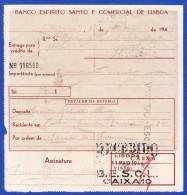 1944 . PORTUGAL - BANCO ESPIRITO SANTO E COMERCIAL DE LISBOA -- ENTREGA PARA CRÉDITO - Cheques & Traverler's Cheques