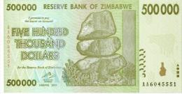 Billet Zimbabwe 500 000 Dollars NEUF - Zimbabwe