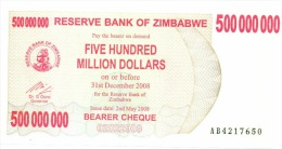 Billet Zimbabwe 500 000 000 Dollars NEUF - Zimbabwe