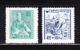 South Korea 1957 & 65 Flood Relief Stamps MNH OG WM - Korea (Süd-)