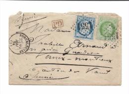 FRANCE - 1874 Gros Chiffre 1551 De Forcalquier (Basses Alpes) Cérès 25 + 5 Centimes Pour Suisse Vernex Montreux - 1871-1875 Cérès