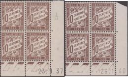 France 1937 Et 1940. Taxe 29, 2 Coins Datés, Bruns Clair Et Foncé. Paires Supérieures Avec Charnière - Taxes