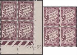 France Vers 1935 . Taxe 40A, 2 Blocs De 4, Deux Nuances Et Papiers Différents. Deux Timbres Avec Charnière - Taxes