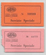 """03420 """"SAPAV  TORINO - PINEROLO - COPPIA BIGLIETTI SERVIZIO SPECIALE """"  BIGLIETTI DI TRASPORTO ORIGINALI. - Bus"""