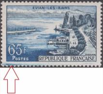 France 1957 Y&T 1131. Curiosité, Taches Dans La Marge Inférieure. Evian-les-Bains