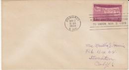 Sc#858 50th Anniversary Statehood Issue, North Dakota Postmark, 1939 Cover - Briefe U. Dokumente