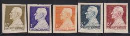 Monaco 1949 Louis II Set Of 5 Imperforates. Dallay 341-5. - Monaco