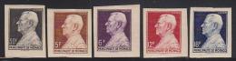 Monaco 1948 Louis II Set Of 5 Imperforates. Dallay 311-5. - Monaco
