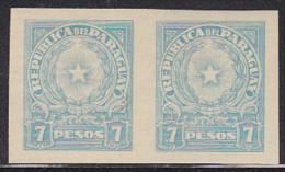 Paraguay 1942 Coat Of Arms 7p Light Blue Imperforate Pair. Scott 393. MNH. - Paraguay