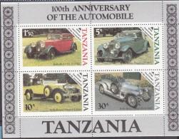 TANZANIA, 1986 CLASSIC CARS MINISHEET MNH - Tanzania (1964-...)