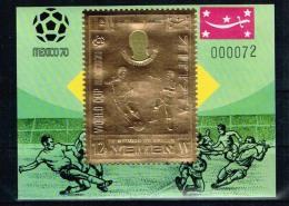 Yemen.1970 World Cup.Soccer.Football.Fussball.Gold Block.Charlton.England.MNH** - Copa Mundial