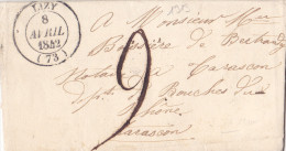 1313# LETTRE Obl LIZY 1842 T14 SEINE ET MARNE - Marcofilia (sobres)