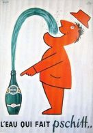 Postcard - Poster Reproduction - Perrier L´eau Qui Fait Pschitt 1952 - Publicité