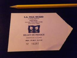 Ticket Bateau - SIX FOURS LE BRUSC - PAUL RICARD - Enfant - Billets D'embarquement De Bateau