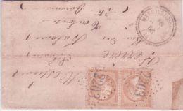 1866 - Lettre De MARCILLAC Du LOT ( Lot ) Cad T22 Affr. Paire N° 21 Oblit. G C 2203 - 1849-1876: Klassieke Periode