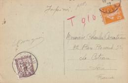 16013# SEMEUSE CARTE POSTALE LA PREFECTURE TAXE DUVAL BANDEROLE Obl ALGER 1922 ALGERIE Pour LE COTEAU LOIRE - Marcophilie (Lettres)