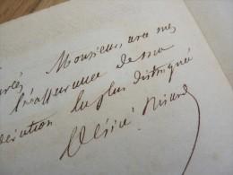 Désiré NISARD (1806-1888) - Critique ACADEMIE FRANCAISE - Directeur Ecole Normale - Autographe - Autographes