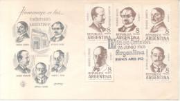 HOMENAJE A LOS ESCRITORES ARGENTINOS, SERIE COMPLETA. FDC. TBE RICARDO ROJAS, L. LUGONES SOBRE ENVELOPPE CUAC